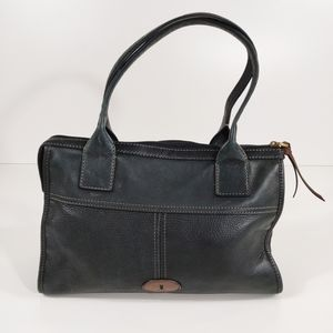 Fossil pebble leather black tote